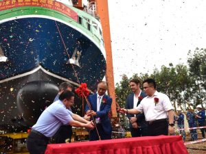 Lucky Eyre transhipment vessel launch